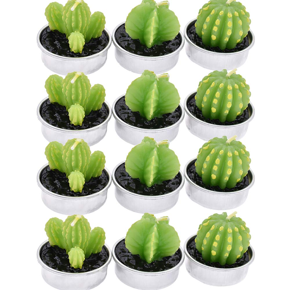 BLSMU Handmade Succulent Tealight Candles Valentine's Day Birthday Party Wedding Spa Home Decoration 12 Pcs in Pack ,Cactus Tealight Candles