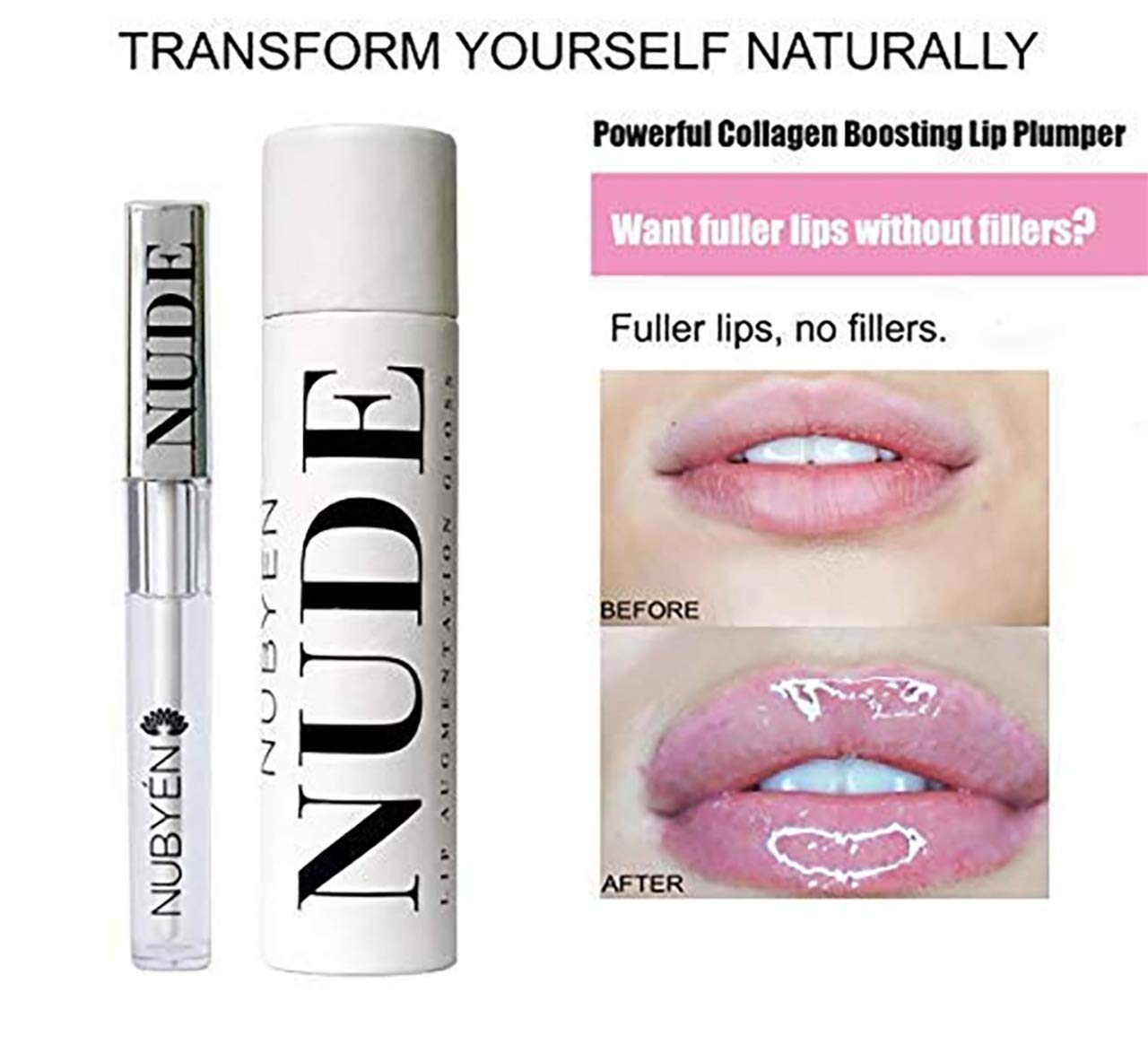 Lip Plumper - Get Instantly Sexy Lips without lip Filler Injection - Organic Lip Plumping Lipgloss for Fuller & Hydrated Lips, Natural Lip Enhancer LIP GLOSS by NUBYEN MINDFUL BEAUTY