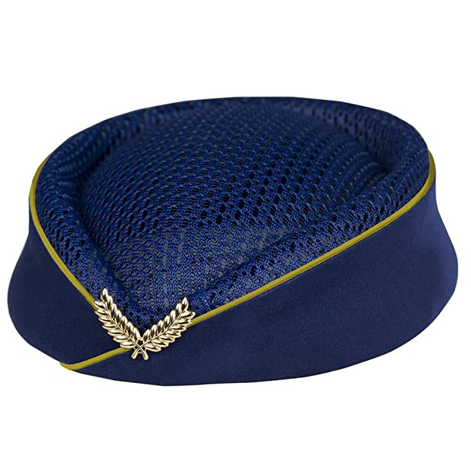 1950s Women's Hat Styles & History Veroda Summer Mesh Pillbox Air Hostess Stewardess Uniform Beret Hat Base Cap with Gold Badge £10.99 AT vintagedancer.com