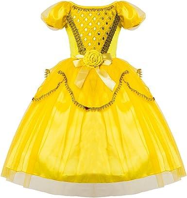 Ultra Fanessy Fille Robe de Princesse Jaune à Manches Courtes avec XC-42