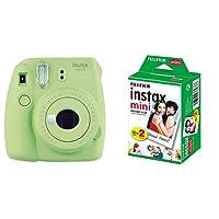 Fujifilm Instax Mini 9 Lime Green Fotocamera Istantanea per Foto Formato 62x46 mm, Verde + Instax Mini Film Pellicola Istantanea per Fotocamere Instax Mini, Formato 46x62 mm, Confezione da 20 Foto