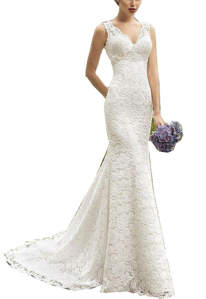 Fanciest Women's Straps Double V Neck Mermaid Lace Wedding Dresses for Bride White D218-MFN