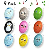 """heytech 9 Pieces Wooden Egg Shakers 3"""" Easter Eggs Maracas Percussion Musical for Party Favors, Classroom Prize Supplies, Musical Instrument, Basket Stuffers Fillers, Easter Hunt for Easter"""