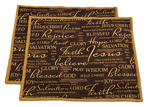 14'' x18'' Christian Placemat - Set of 2 - Inspirational Messages on Brown by Eluandas