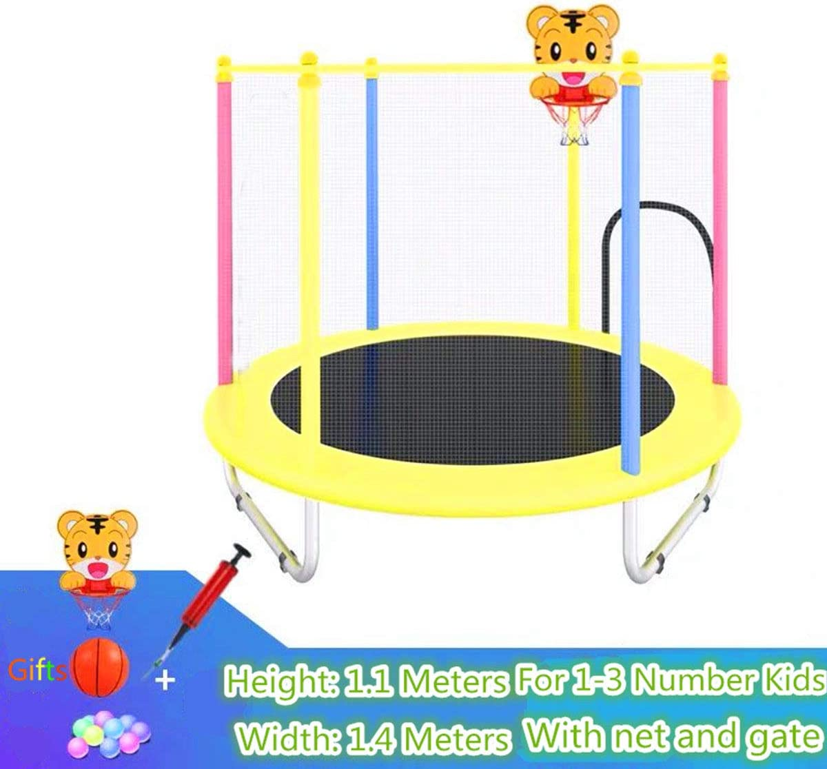 Indoor Outdoor Trampoline for Boys Grils Children Toddler Kids Trampoline with Enclosure Net 1.4m//55inch Colorful Trampoline with Safety Net,Seaballs,Basketball Hoop Durable Fitness Trampoline