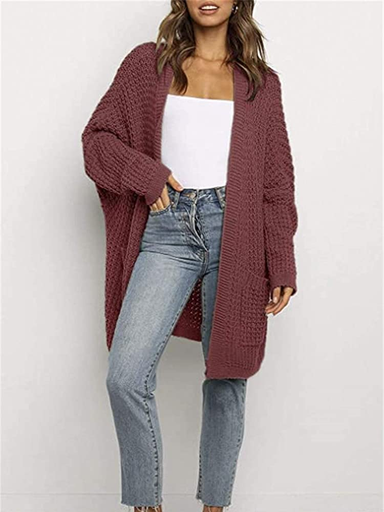 Simplee Women's Casual Open Front Long Sleeve Knit Cardigan Sweater Coat with Pockets