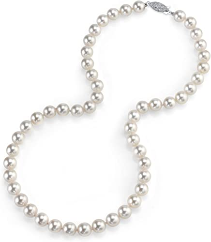 """Top Grading AAAA Japanese Akoya 6-7mm white pearl Necklace 35/"""" 14K"""