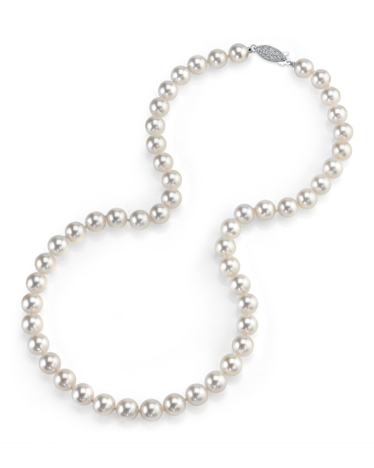 THE PEARL SOURCE 14K Gold 7.0-7.5mm Round Genuine White Japanese Akoya Saltwater Cultured Pearl Necklace in 17'' Princess Length for Women by The Pearl Source