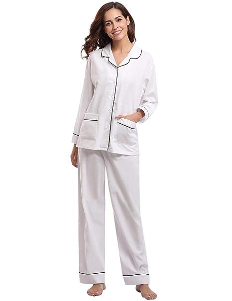 338a727e05 Abollria Pigiama Donna Lungo in Cotone Bianco Taglia M: Amazon.it:  Abbigliamento