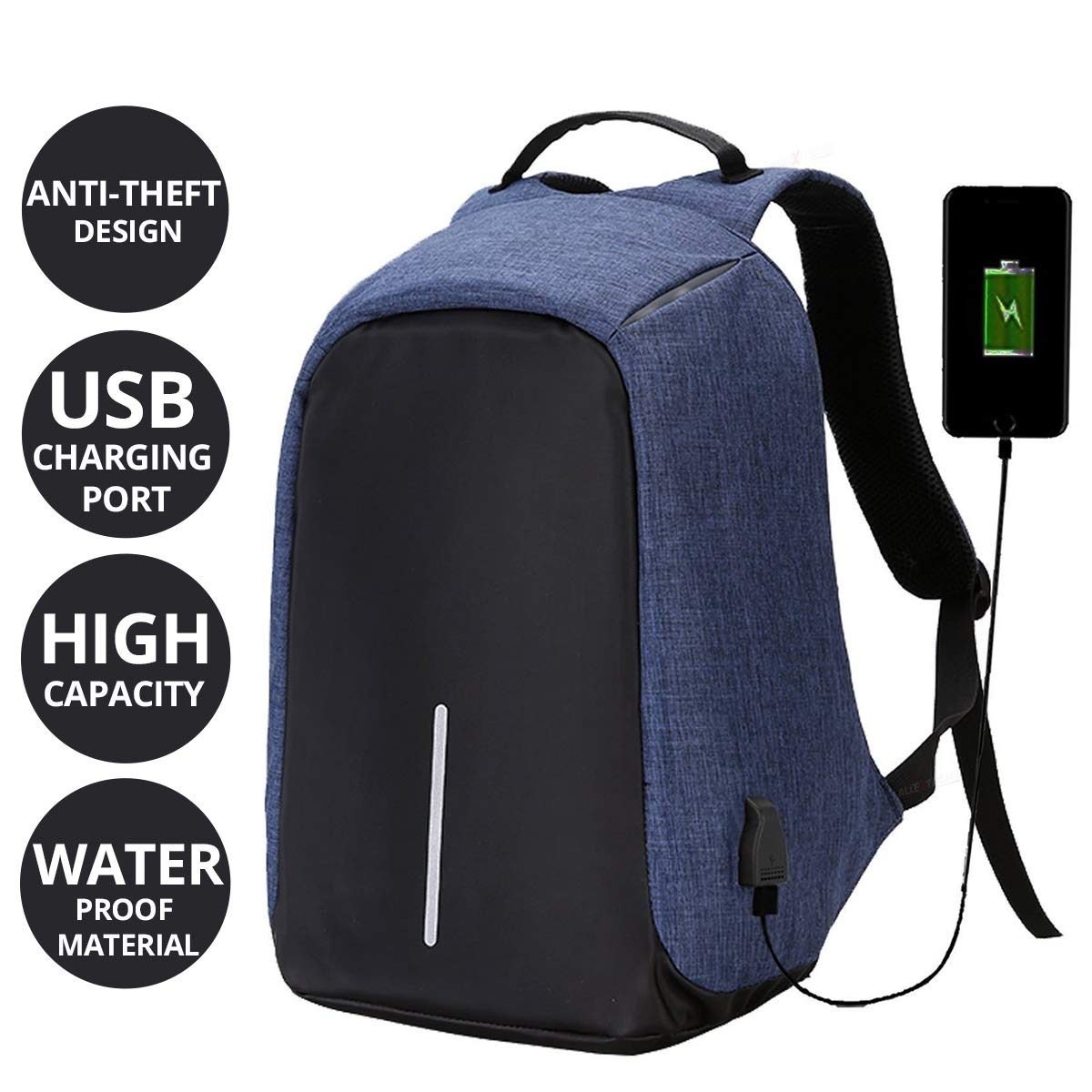 de9b90cc04 AllExtreme EXATBP1 Anti Theft Laptop Bag 14 Inch Water Resistant Office  Backpack with USB Charging Port (Blue) - Buy AllExtreme EXATBP1 Anti Theft  Laptop ...
