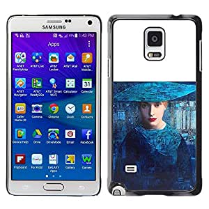 LECELL--Funda protectora / Cubierta / Piel For Samsung Galaxy Note 4 SM-N910 -- Blue Woman Fashion Art Haut Couture --