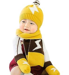 b31c4cbcdce49 GONGZHUMAMA - Conjunto de Punto Gorro Bufanda Guantes de Lana para Bebé  Niños Recién Nacido Calentito