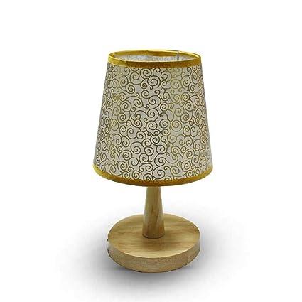 JM Lámparas de escritorio Lámpara de mesa de madera maciza ...