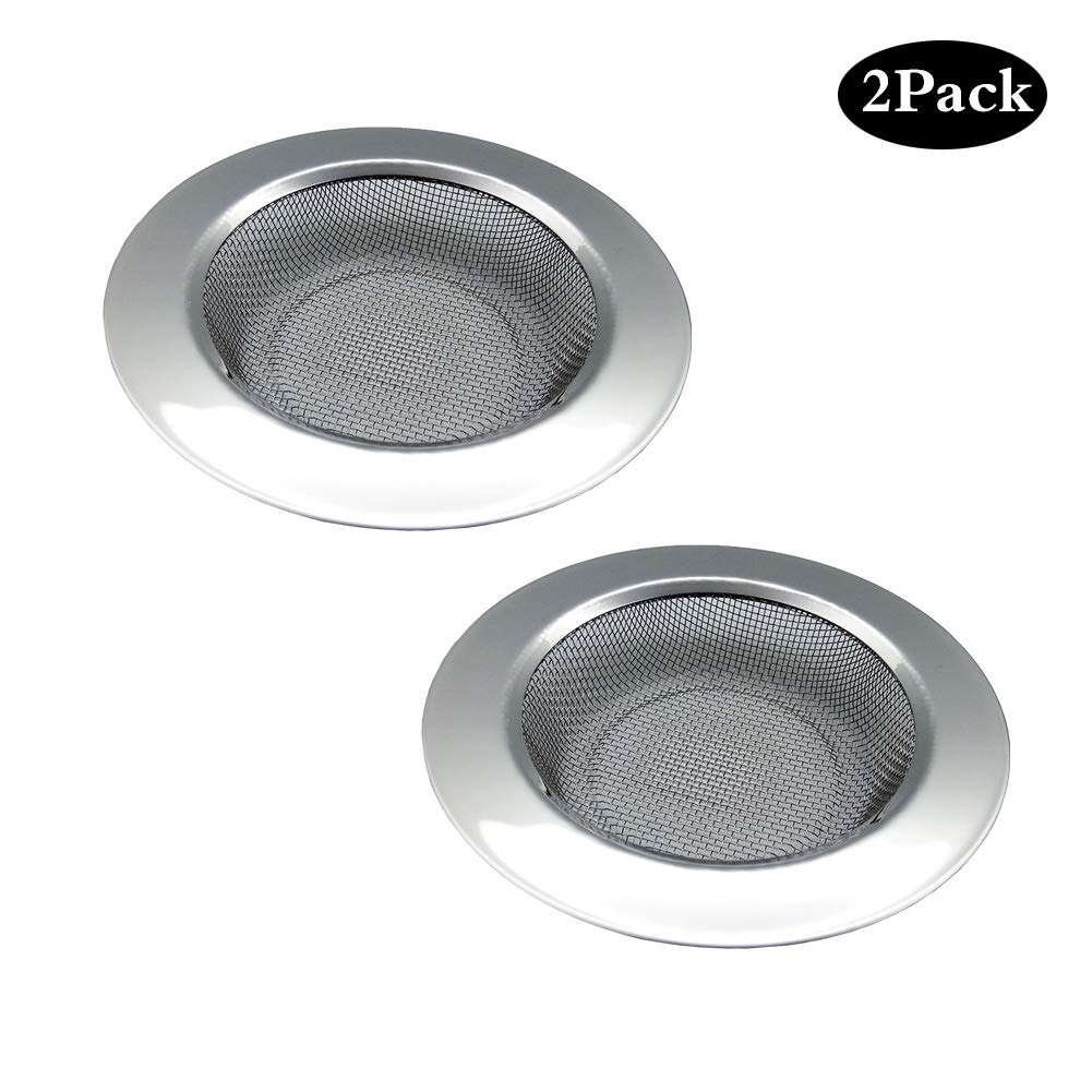 "2 PCS Stainless Steel Kitchen Sink Strainers,Large Wide Rim 4.3"" Diameter,Rust-Free,Perfect for Garbage Disposals Prevent Food Clogging Your Sink Fine Mesh"