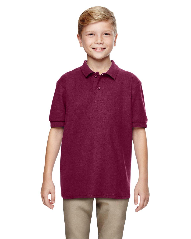 Gildan Boys DryBlend 6.3 oz. Double Piqué Sport Shirt (G728B) -Maroon -M-12PK