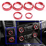 6pcs Aluminum Alloy Car Inner Air Conditioner & Trailer & 4WD Switch Knob Ring Cover Trim For Ford F150 2016 2017 (Red Whole Set Knob Cover)