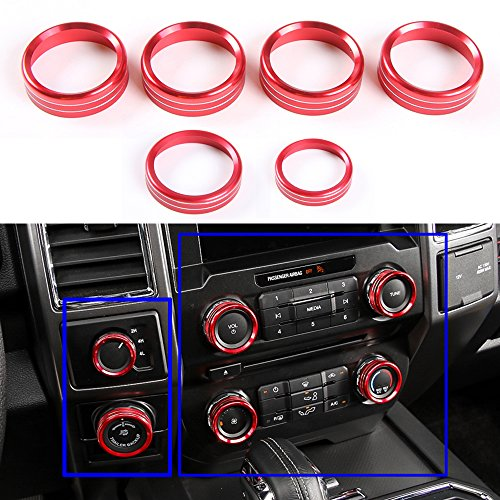 6pcs Aluminum Alloy Car Inner Air Conditioner & Trailer & 4WD Switch Knob Ring Cover Trim For Ford F150 XLT 2016 2017 (Red Whole Set Knob Cover)