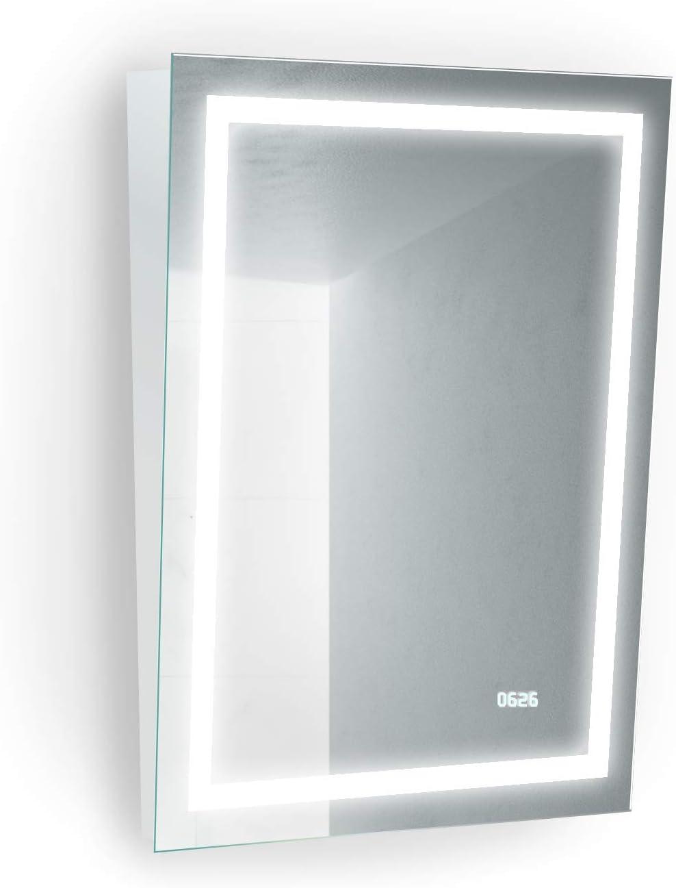 Amazon Com Krugg 24 Inch X 32 Inch Led Bathroom Mirror Ada Fixed Tilt Lighted Vanity Mirror Digital Clock 4000k Home Kitchen