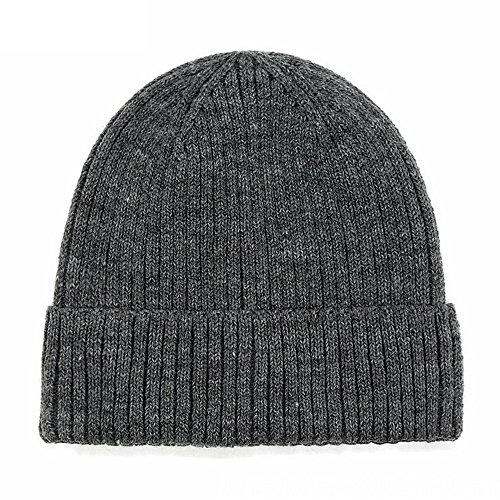 Refaxi Gray Unisex Winter Warm Slouchy Cap Ski Skull Hats Knit (Cable Knit Reversible Hat)
