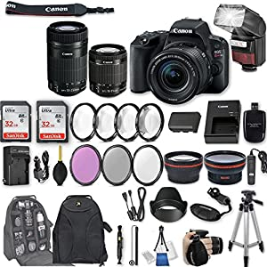 Canon EOS Rebel SL2 DSLR Camera with EF-S 18-55mm f/4-5.6 IS STM Lens + EF-S 55-250mm f/4-5.6 IS STM Lens + 2Pcs 32GB Sandisk Memory + Automatic Flash + Filter & Macro Kit