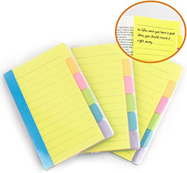 Blue Yellow and Green Set of 4 Self Stick Note Pads Pink