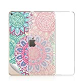 iPad Mini 4 Clear TPU Case + Skin Sticker Kit -TTOTT Crystal Clear Soft TPU Gel Case + Colorful Floral Mandala Art Design Removable Skin Decals for Apple iPad Mini 4 with Dual Shock Absorbtion Waterproof Protection 7.9''inch