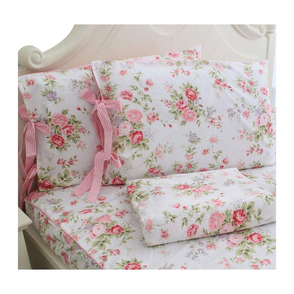 FADFAY Bed Sheets Pink Rose Floral Print Bed Sheet Set 4-Piece Full Size