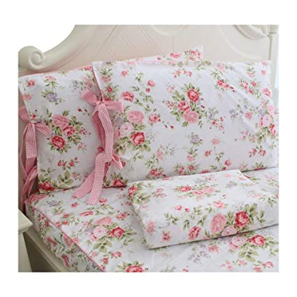 FADFAY Cotton Bed Sheets Set Shabby Rose Floral Print Sheet Bedding 4 Piece  Twin Size