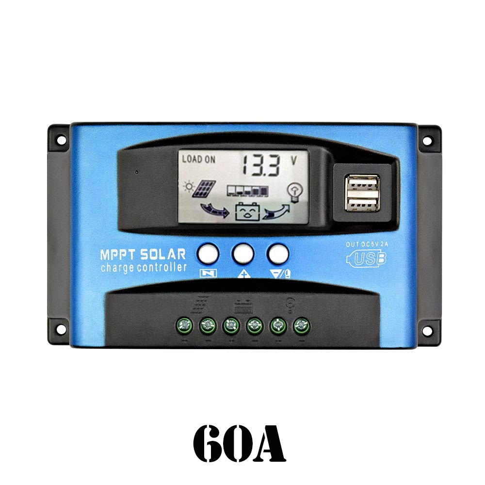 OFCCN Solar Panel Controllers,Solar Switch,Time Control,30/60A 12/24V with LCD USB MPPT Solar Panel Regulator Battery Charger Controller (60A)
