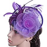 iYBUIA Fashion Women Fascinator Mesh Hat Ribbons and Feathers Wedding Party Hat Purple