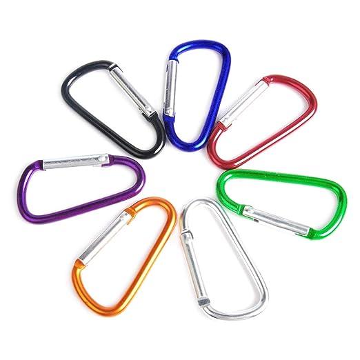 Paquete de 5 mosquetones coloridos de aluminio con gancho en forma ...