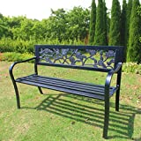 WestWood 3 Seater Garden Bench Slat Steel Rose Style Park Patio Outdoor Furniture Seat Chair Metal C074 Black