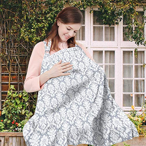 Wsky Nursing Cover - Baby Best Breastfeeding - Infant Feeding Cover - Full Coverage, 100% Breathable Soft Cotton, Stylish and Elegant ()