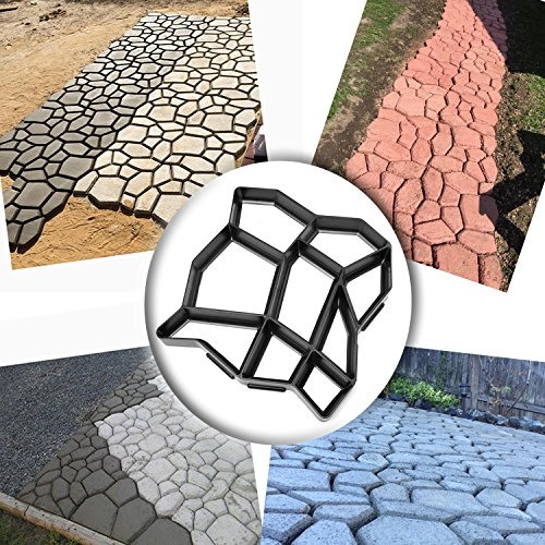 WOVTE DIY Walk Maker Concrete Stepping Stone Mold Garden Lawn Pathmate Stone Mold (Brick Patio And Cement)