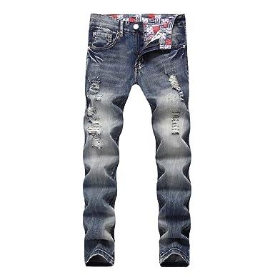 f155bedc107e4 Pantalons Homme CIELLTE Déchiré Bleached Denim Jeans Pantalon Moulant  Distressed Pantalon de Travail Skinny Trousers Pants