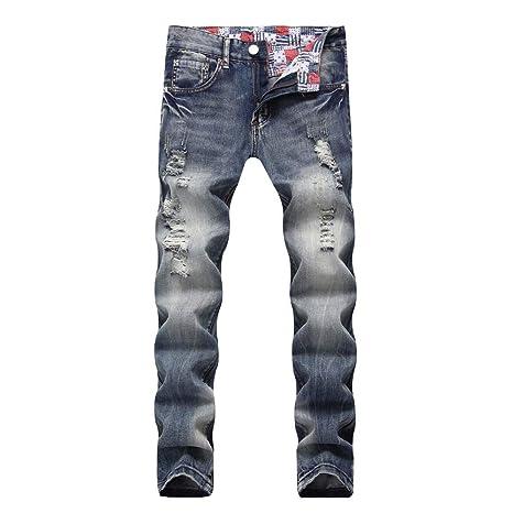 TEBAISE Herren Biker Jeans Stretch Jeans Hose Zerrissen Destroyed Denim Slim Fit Jeans Jeanshosen Jungen Männer