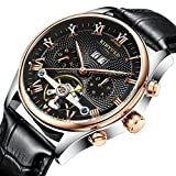 TIDOO Tourbillon Style Black Leather Aviator Date Automatic Mechanical Mens Watch