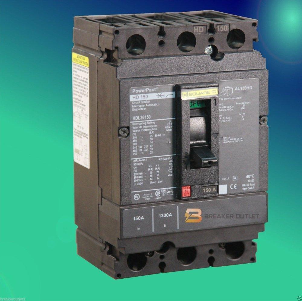 New Square D HJL36100 Circuit Breaker 3 Pole PowerPact 100A 600V 65kA HJL