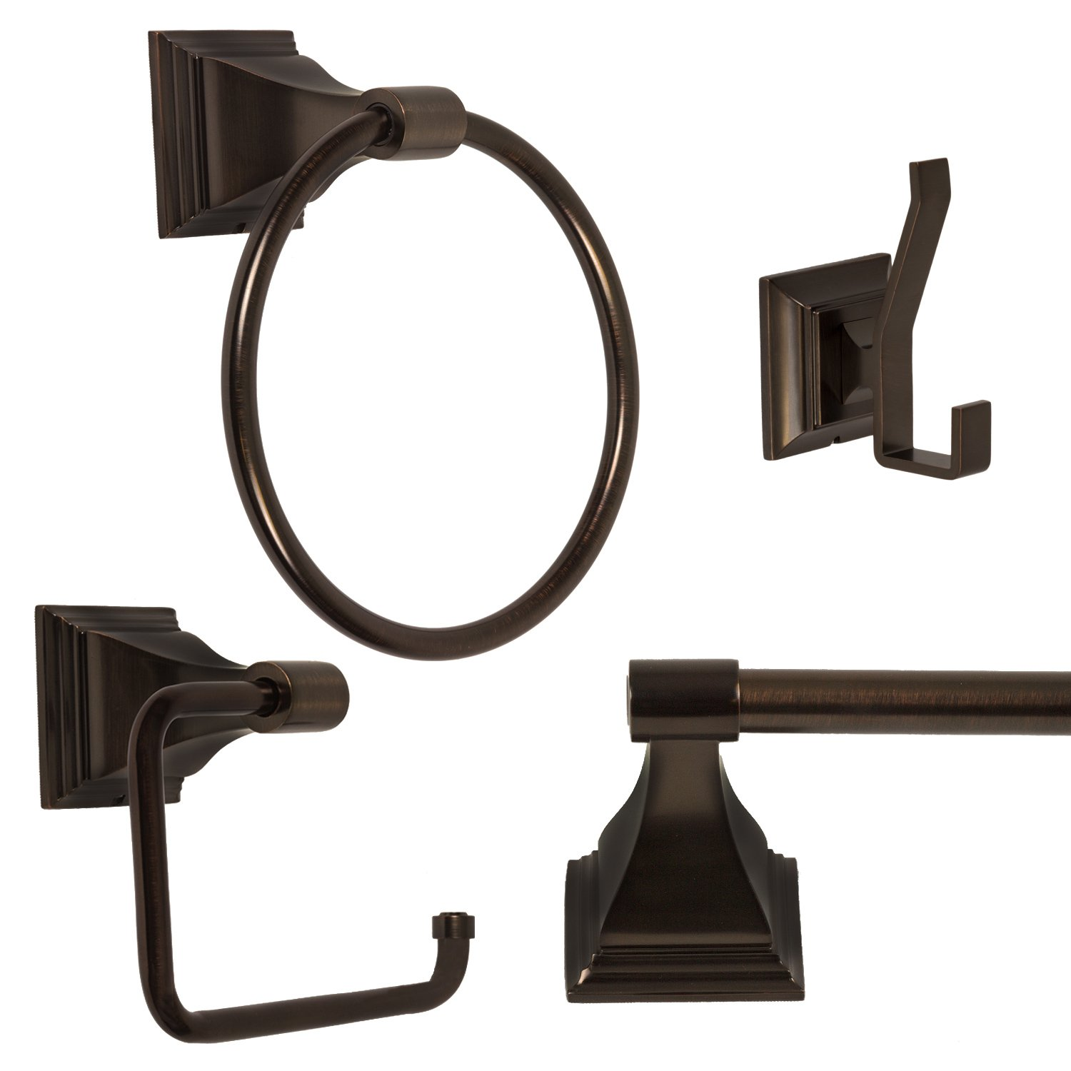 4-Piece Bathroom Hardware Accessory Set With 24'' Towel Bar - Oil Rubbed Bronze
