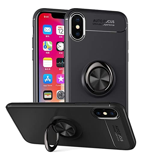 buy popular 35ceb 9c551 for iPhone Xs/XS Max/XR Case,with Ring Holder Kickstand Shock-Absorption  Soft Silicone TPU Car Magnetic Protective Cover