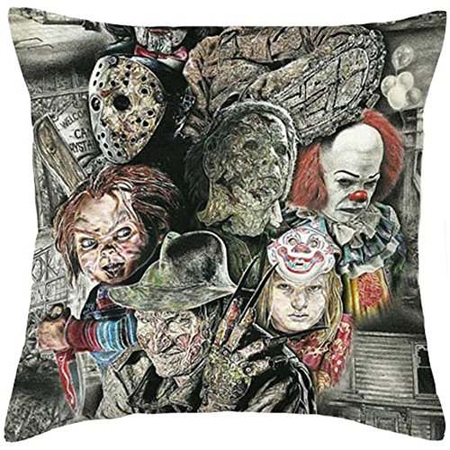 Fyon Ghost Freddy Toy Bear Doll Horror Game Cushion Cover Classic Game Pillow Cover Decorative Pillows for Sofa Car 18x18inch -