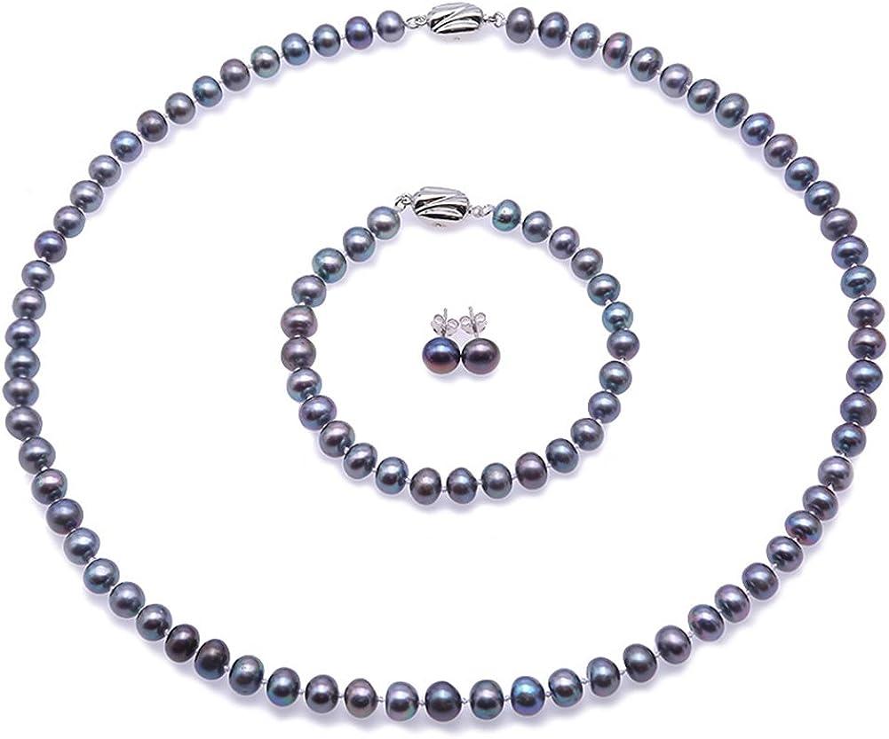 JYX Conjunto de Joyas de Perlas 3 en 1 Collar Fino de Perlas de Agua Dulce Azul de 7-8mm, Pulsera, Pendientes