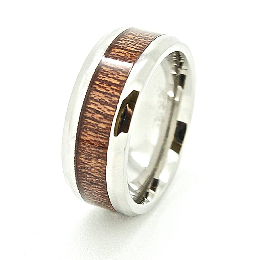 Unisex 8mm Wood Grain Inlaid Titanium Ring Wedding Band Size 13.5 (13 1/2)