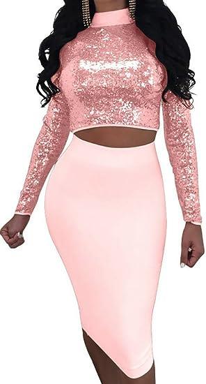 7fa436b7c79 SYTX Womens Stylish Long Sleeve Sequins Two Piece Set Bandage Evening Bodycon  Dress 1 S