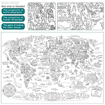 Giant Coloring Doodle Poster Oversize World Map Drawing Doodle Wall Post Mandala Doodle Art Creative Drawing Educational Gift For Kids Boy Girl Adults: Toys & Games