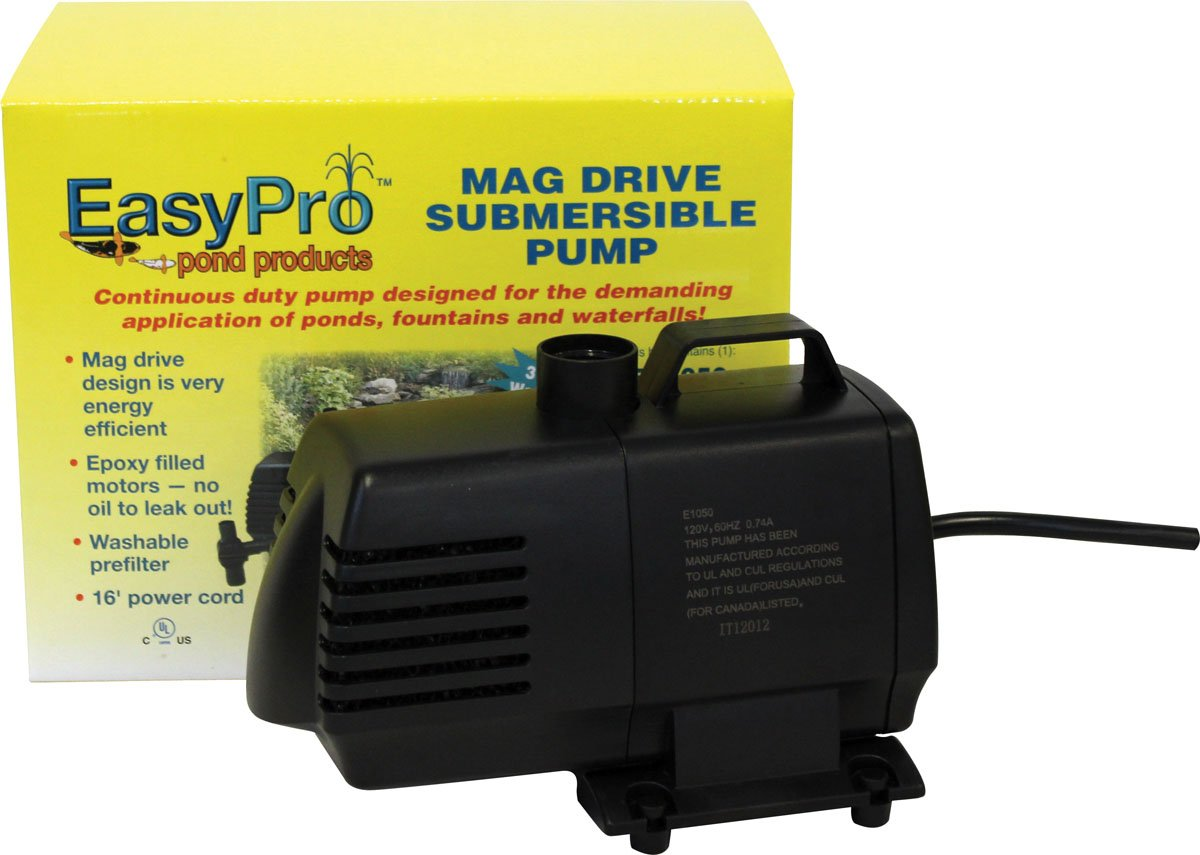 EasyPro EP1050 Submersible Mag Drive Pond Pump, Max Flow 1050 Gallons-Per-Hour