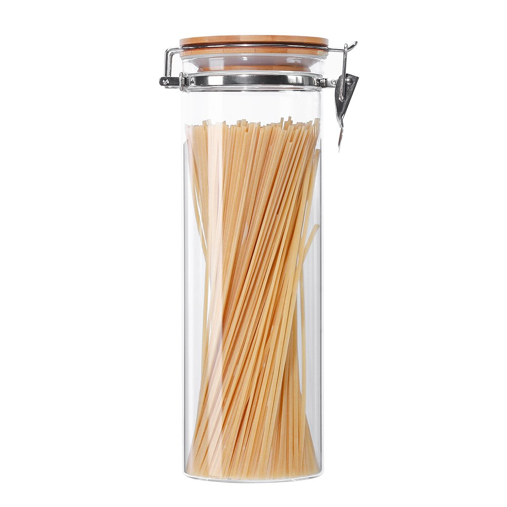 3E Home 23-2900 Large Coffee Canister, Container, Jar for Ground or Whole Bean, Glass Body and Bamboo Cap 67Oz Capacity