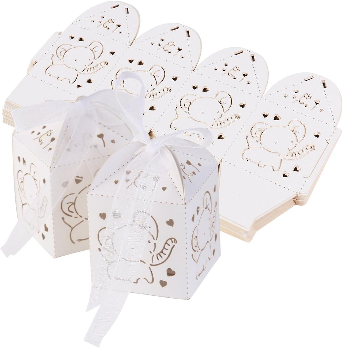 Ultnice - 50 cajas de regalo para bodas, bautizos, invitados, fiestas de nacimiento, cumpleaños