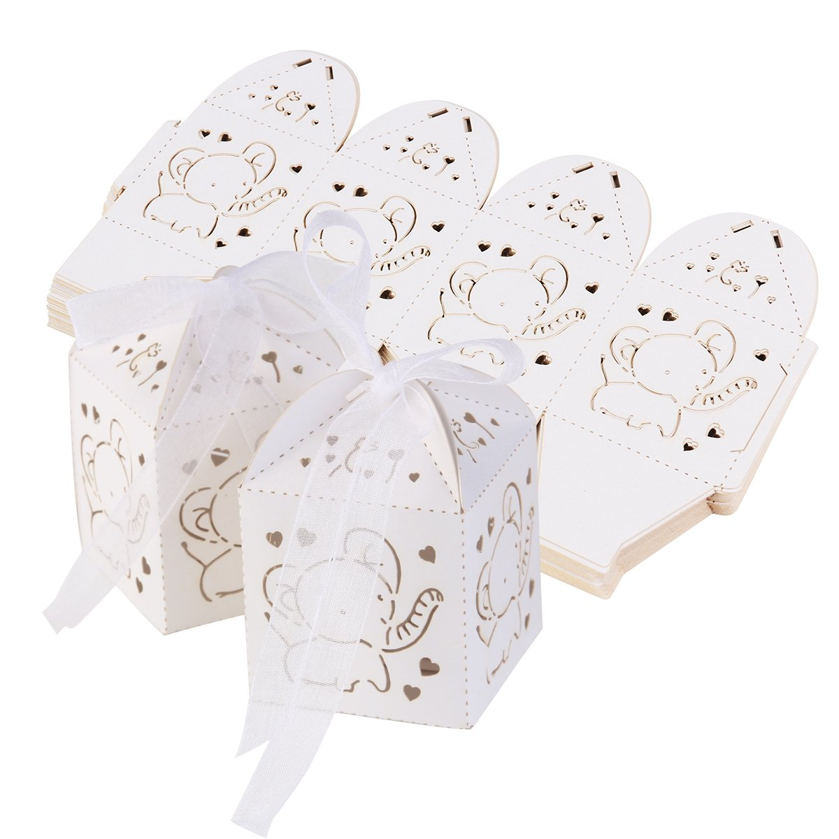 Tinksky 50pcs Hollow Out Elephant Pattern Candy Boxes Gift Bags Baby Shower Wedding Favors (White)