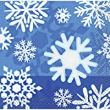 Winter Snowflake Beverage Napkins - Birthday Theme Party Supplies - 16 per Pack - from Fun365